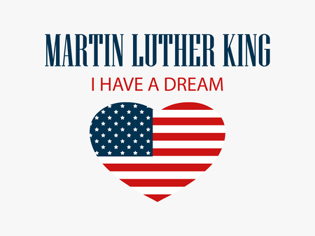 Martin Luther King Day. Heart with flag usa. Vector illustration Illustration