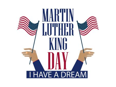 Martin Luther King Tag . Die Hand hält die Flagge der Vereinigten Staaten . Urlaub Banner isoliert auf weißem Hintergrund . Vektor-Illustration