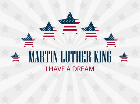 Martin Luther King Day. Star with flag usa. Holiday background with rays. Vector illustration Vettoriali
