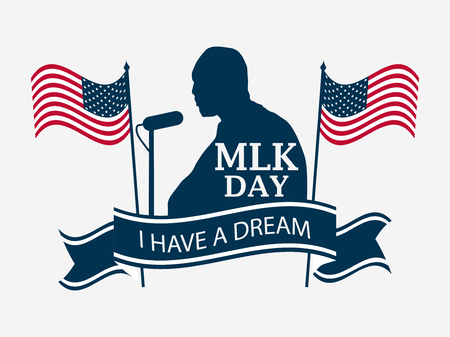 Martin Luther King Day. Celebratory banner with the flag of the USA andhuman silhouette isolated on white background. Vector illustration
