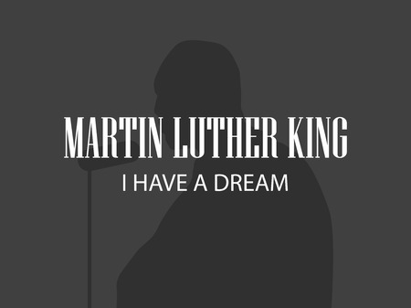Martin Luther King. Human silhouette on black background. MLK day. Vector illustration