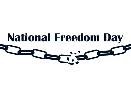 National freedom day, 1st of February. Broken chain isolated on white background.