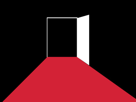 Red path to the open door. Typographic design. Vector illustration