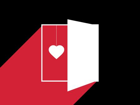 Heart behind the door. Light from an open door. Typographical design, Valentine's day. Vector illustration