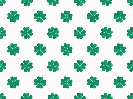 Green clover leaves on white background seamless pattern. Vector illustration