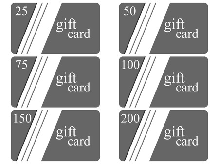 Gift cards in the style of material design with shadows. Layers of cut paper. The cards cost in 25, 50, 75 100, 150, 200. Vector illustration