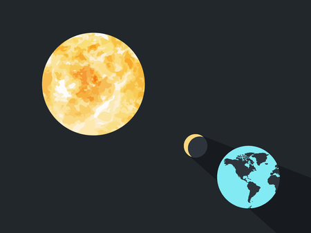 Solar eclipse. The moon closes the planet earth from the suns rays. Vector illustration