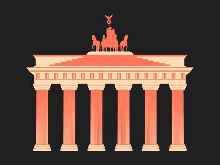 Brandenburg Gate in Berlin. Isolated on white background. Vector illustration