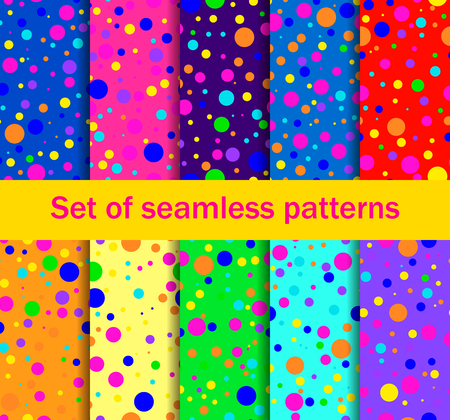 Seamless patterns with colored circles are randomly scattered. Bright colors, collection of ten backgrounds. Vector illustration Illustration