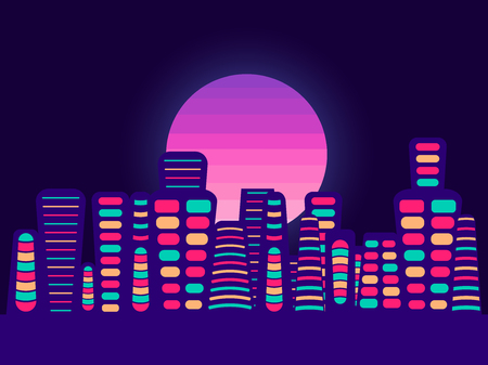 Night city on a sunset background. Retro panorama of the 80s, 90s. Tourist town. Vector illustration