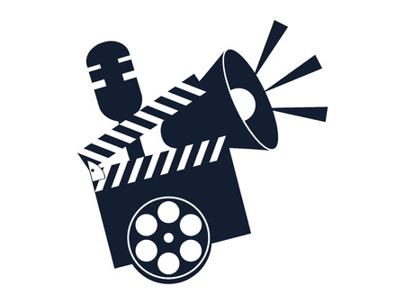 Cinematography tools. Clapperboard, movie clapper.  Vector illustration
