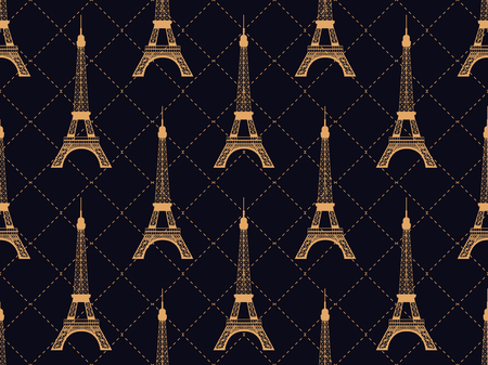 Art deco seamless pattern with eiffel tower. Gold color. Places of interest in Paris, France. Style of the 1920s - 1930s. Vector illustration  イラスト・ベクター素材
