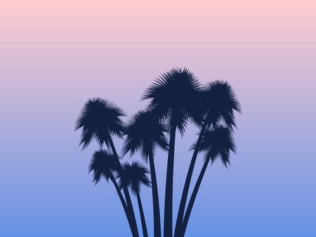 Palmen. Tropische Landschaft. Rosenquarz und Gelassenheitsgradientenhintergrund. Exotische Bäume. Vektorabbildung