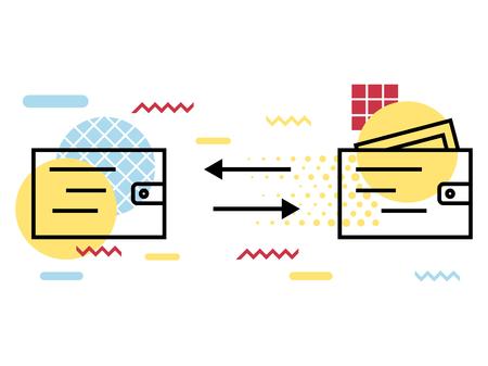 Wallet icon, geometric elements memphis. Money transfer, withdrawal. Vector illustration Illustration