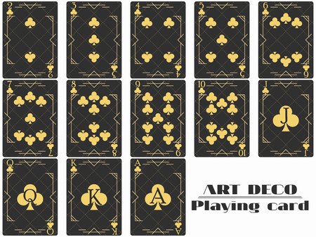Playing cards club suit. Poker cards original design art deco style. Vector illustration Ilustração