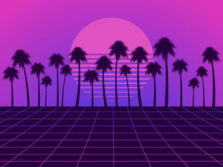 Retro futuristic landscape with palm trees. Neon sunset in the style of 80s. Synthwave retro background. Retrowave. Vector illustration Иллюстрация