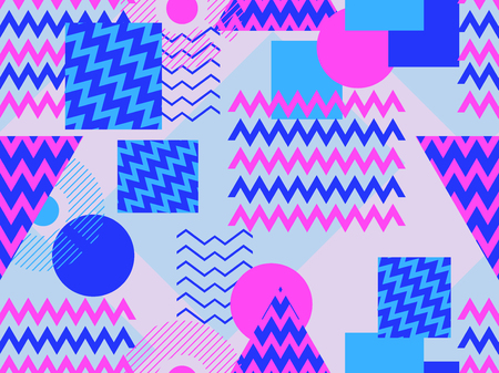 Memphis seamless pattern. Geometric elements memphis in the style of 80s. Synthwave retro background. Retrowave. Vector illustration