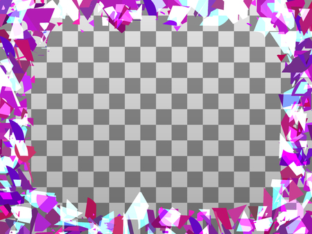 Broken particle frame on a transparent background. Scattered particles. Place for text in the center. Vector illustration