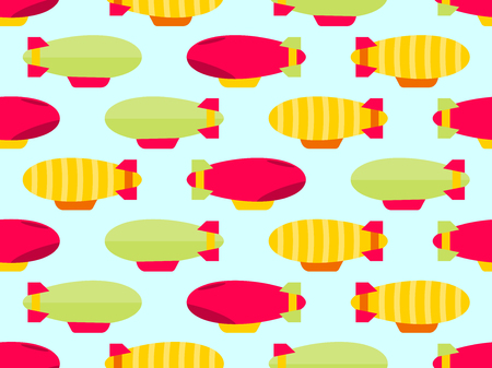 Dirigible seamless pattern. Colorful airships. Vector illustration