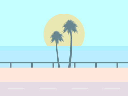 Road on the background of the beach, the sun with palm trees, tropical landscape. Highway along the ocean. Vector illustration  イラスト・ベクター素材