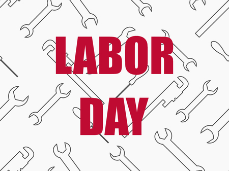 Labor Day, seamless background with wrenches. Greeting card, holiday United States. Vector illustration