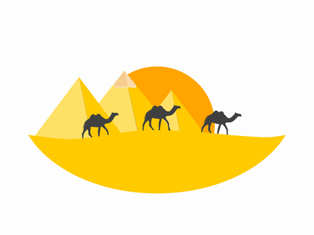 Caravan camels against over pyramids. Egyptian pyramids in the desert. Vector illustration