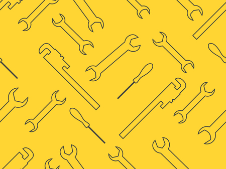 Seamless pattern with spanner. Wrench, adjustable wrench tools. Vector illustration