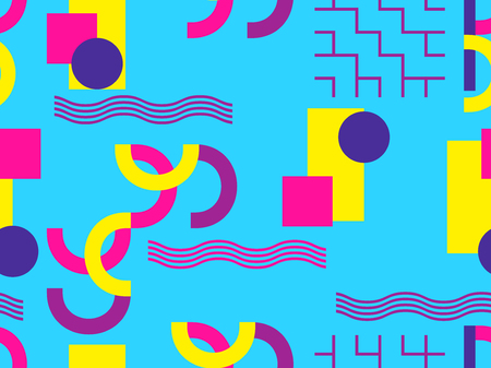 Memphis seamless pattern. Abstract geometric background with elements of a memphis in the style of the 80s. Bauhaus retro. Vector illustration. Vettoriali