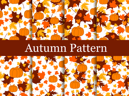 Set of seamless patterns of autumn themes. Yellowed leaves and pumpkins. Thanksgiving Day. Autumn background. Vector illustration