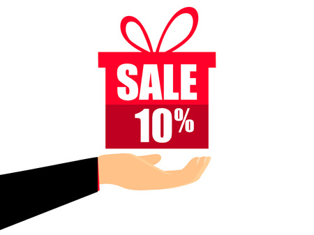 Gift box on the hand with a 10 percent discount, flat style. Special offer holiday. Coupon for sale. Vector illustration