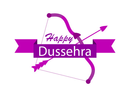Happy Dussehra. Bow and arrow. Holiday symbols of the Indian holiday. Vector illustration