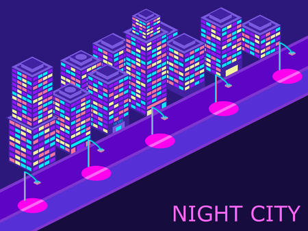 Urban landscape with isometric buildings lanterns and road. Violet color. Vector illustraion