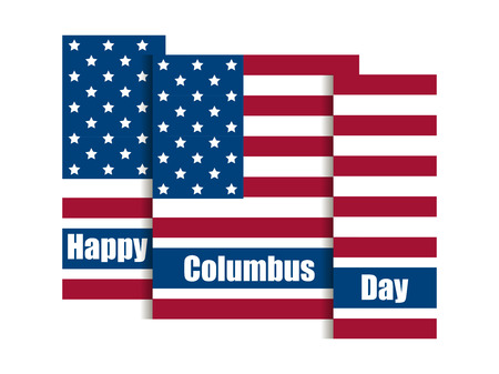 Columbus Day, discoverer of America. Holiday banner with United States national flag. Vector illustration