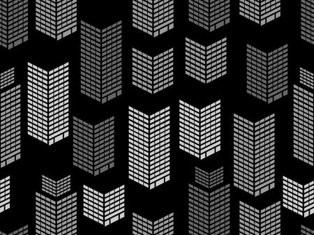 Seamless night city window pattern. Skyscrapers, isometric city buildings, metropolis. Vector illustration