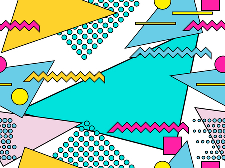 Memphis seamless pattern. Geometric objects with stroke, style of 80s. Bauhaus abstract background. Vector illustration Ilustração