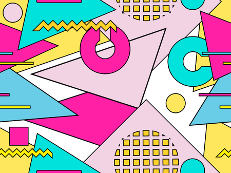 Memphis seamless pattern. Geometric objects with stroke, style of 80s. Bauhaus abstract background. Vector illustration Illusztráció