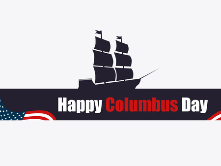 Happy Columbus Day, the discoverer of America, waves and ship, holiday banner. Sailing ship with masts. Vector illustration Illustration