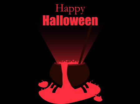 Halloween witches cauldron. The potion pours out of the cauldron. Magical boiler. Vector illustration