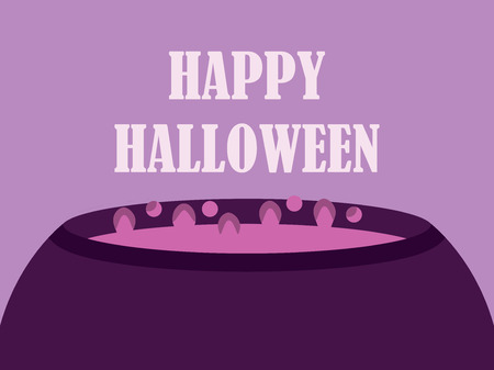 Happy Halloween witches cauldron. Magic potion boils in the cauldron. Holiday greeting card. Vector illustration