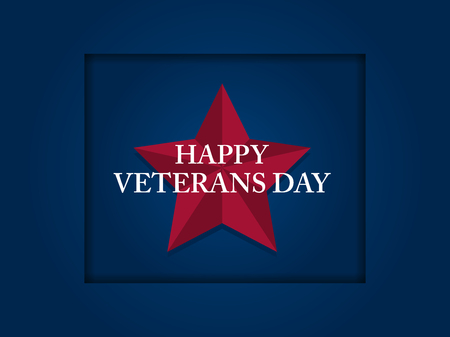 Happy Veterans Day 11th of November. Honoring all who served. Red five-pointed star on blue background. Vector illustration Archivio Fotografico - 110780998