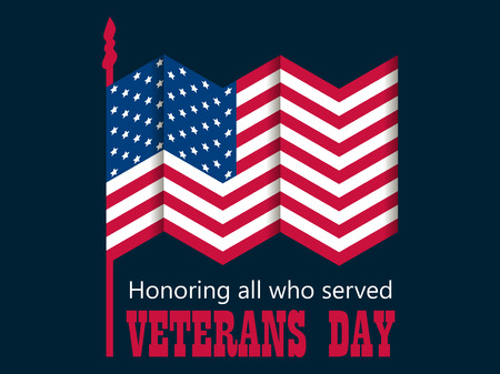 Veterans Day. 11th of November. Honoring all who served. American Flag, paper cut with shadow. Vector illustration