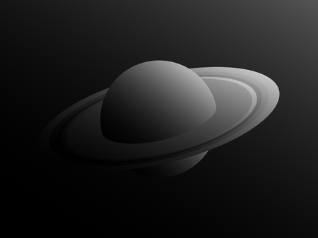 Saturn planet in retro style with shades of gray. Black and white space landscape. Vector illustration Illustration