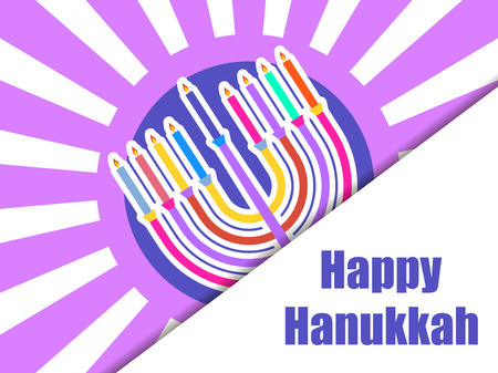 Happy hanukkah. Hanukkah candles. Menorah with nine candles on a background of rays. Vector illustration