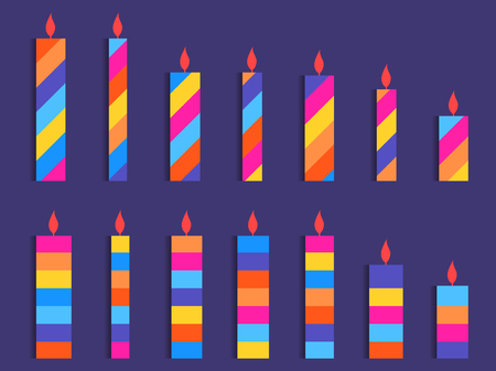 Set of colored candles. Striped candles in flat style. Vector illustration