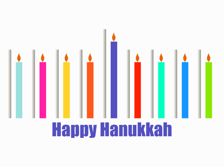 Happy hanukkah. Hanukkah candles. Menorah with nine candles. Paper cut style with shadow. Vector illustration