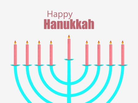 Happy hanukkah. Hanukkah candles. Menorah with nine candles. Vector illustration Illustration