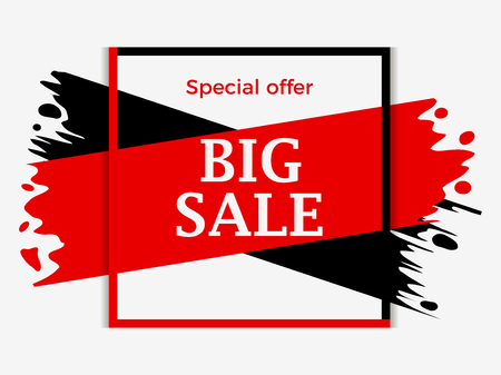Big sale banner with red and black ink painting. Background with paint strokes, grunge style. Special offer with big discount. Vector illustration