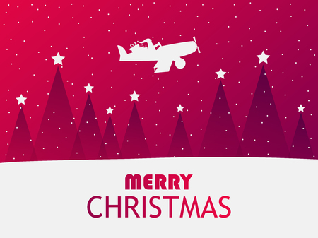 Santa Claus is flying in an airplane over a winter landscape with Christmas trees. Greeting card with falling snow. Red gradient. Vector illustration Vecteurs