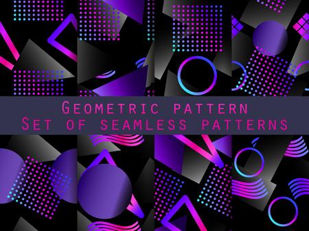 Memphis seamless pattern set with gradient. Geometric elements memphis in the style of 80s. Vector illustration Ilustração Vetorial