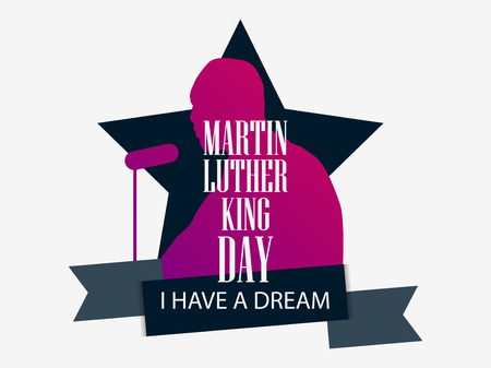 Martin Luther King day. I have a dream. Greeting card with man silhouette, star and ribbon. MLK day. Vector illustration